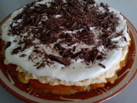 Obrátený ovocný koláč s tvarohovou plnkou - recept postup 3