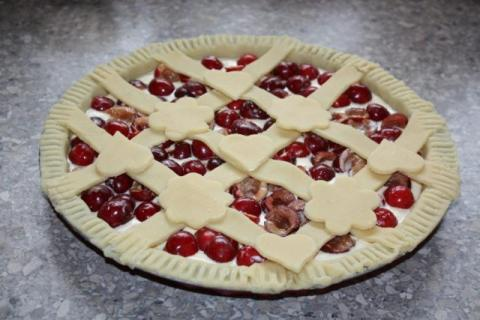 Čerešňovo - tvarohový koláč - recept postup 6