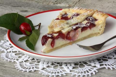 Čerešňovo - tvarohový koláč - recept postup 9
