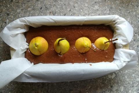 Čokoládovo - hruškový koláč - recept postup 1
