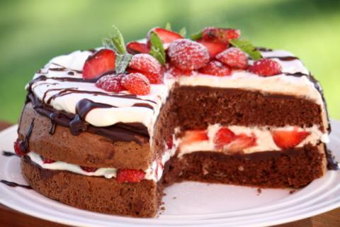 Čokoládovo jahodová torta - recept postup 11