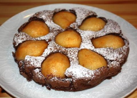 Čokoládový koláč s hruškami - recept postup 12