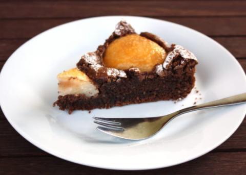 Čokoládový koláč s hruškami - recept postup 14