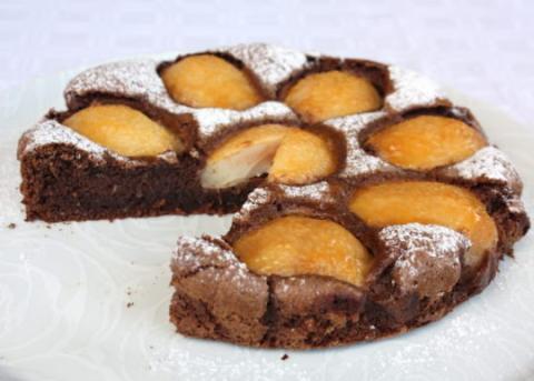 Čokoládový koláč s hruškami - recept postup 13