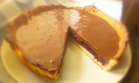 Černicový koláč s čokoládovým krémom - recept postup 1