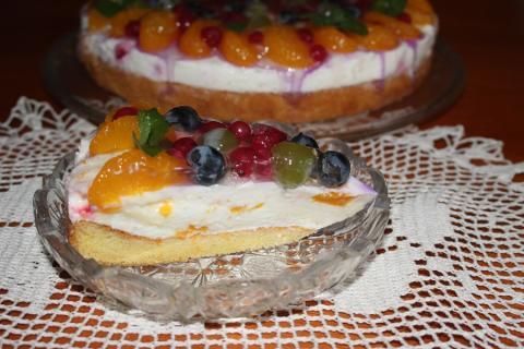 Tvarohovo-ovocná torta so želé - recept postup 1