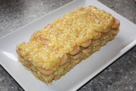 Nepečený jablkový koláč s piškótami - recept postup 6