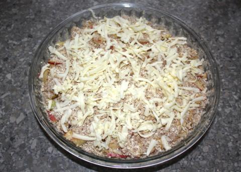 Sypaný jablkový koláč s tvarohom - recept postup 8