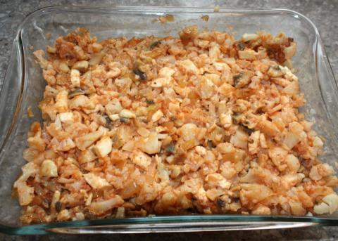 Zapekaný karfiol so šampiňónmi - recept postup 5