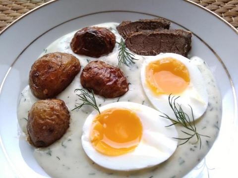 Kôprová omáčka s vajíčkom - recept postup 1