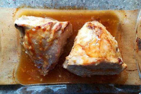Pečené morčacie prsia s medom, cesnakom a horčicou - recept postup 3