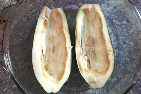 Baklažán plnený šampiňónmi a červenou paprikou - recept postup 1