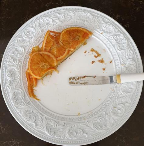 Pomarančovo kardamonový upside down s olivovým piškótom - recept postup 2