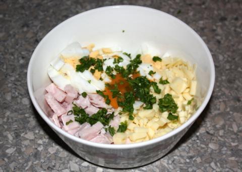 Rožky so syrom a šunkou - recept postup 1