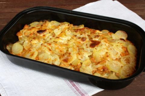 Zapekané zemiaky s mäsom - recept postup 7