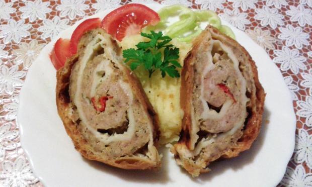 Mäsová roláda v lístkovom cestíčku - recept