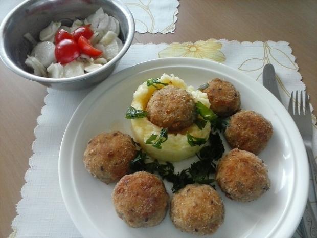 Vyprážané šampiňóny a zemiakovo-petržlenové pyré - recept