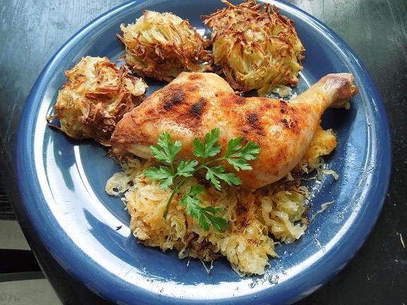 kura na kapuste a zemiakové hniezda - recept
