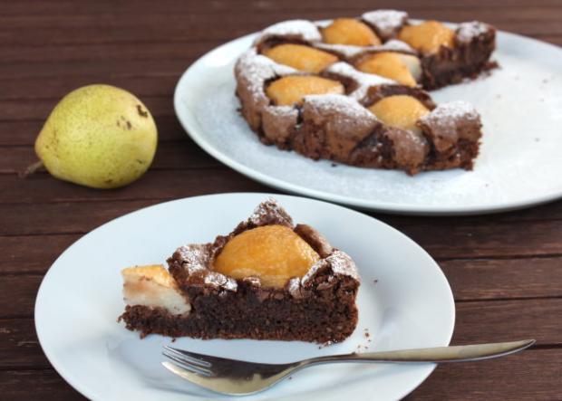 Čokoládový koláč s hruškami - recept