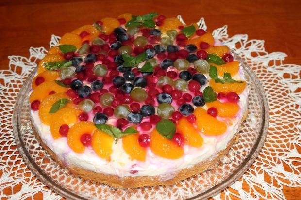 Tvarohovo-ovocná torta so želé - recept