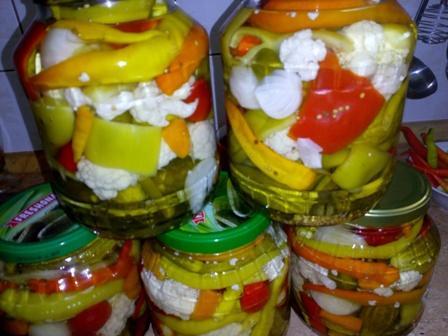 Zelenina barevná sterilizovaná - recept