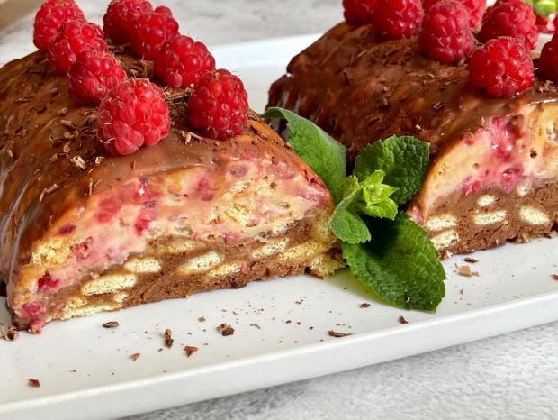 Čoko-malinový koláč zo sušienok - recept