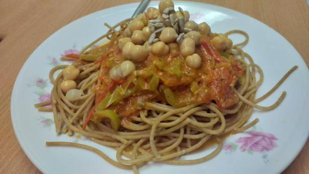 Grahamové špagety s cícerom - recept