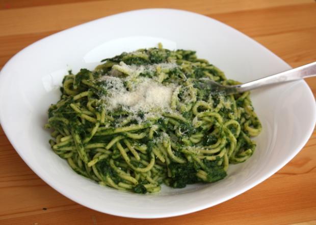 Špagety so špenátom - recept