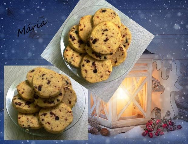 Pomarančovo-brusnicové cookies s orechmi. - recept